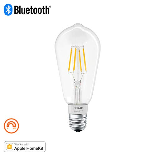OSRAM Smart+ Ampoule LED à Filament Connectée - Culot E27 - Forme Edison - Dimmable - Blanc Chaud 2700K - 5,5W (équivalent 50W) - Bluetooth - Compatible Siri sur Apple & Alexa sur Android