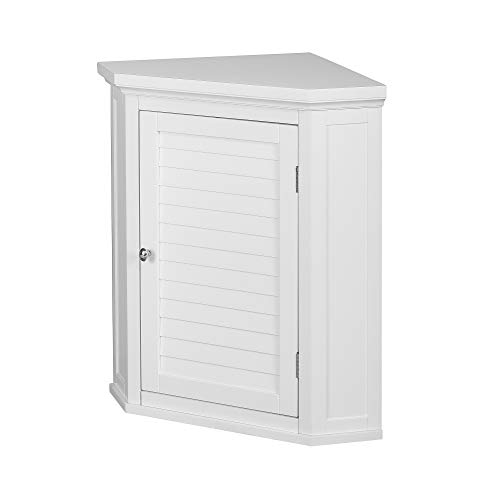 Elegant Home Fashions Louvered Cabinet Door Corner Storage Wall Cabinet