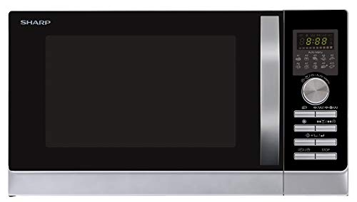 Sharp R843INW 3-in-1 Micro-Ondes à Air Chaud, Grill et Convection/ 25 L/ 800 W/ 1000 W Grill/ 2500 Convection/ 10 Programmes Automatiques/Programme Pizza / Argent
