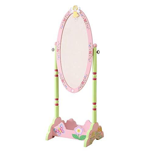 WODENY Ganzkörper Standspiegel für Kinder | Bodenspiegel für Kinder | Kinder Schminkspiegel verstellbar aus Holz mit Pastell Wasserfarbe Fee Schmetterling Blumen rosa Mädchen (Cheval Spiegel)