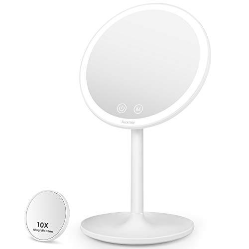 Auxmir Kosmetikspiegel LED Beleuchtet mit 3 Lichtfarben, Dimmbarer Helligkeit und Touchschalter, Schminkspiegel Makeup Spiegel mit Licht und AUTO-OFF für Zuhause und Unterwegs