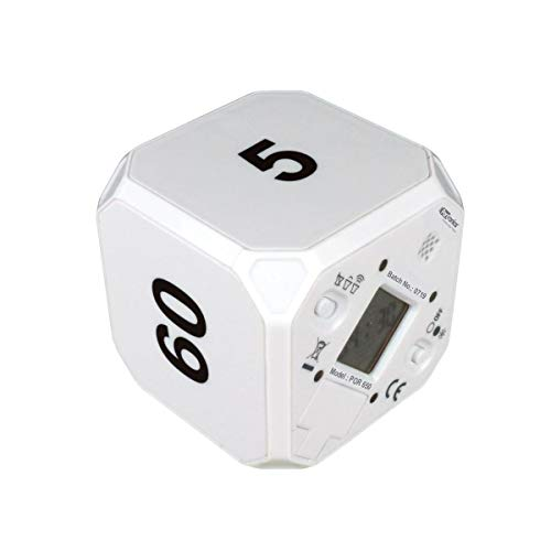 Portronics Timeout - a Smart 5, 15, 30, 60 Minute Count Down Timer Cube with Audio Visual Alarm for Better Time Management in Kitchen, Kids Study, Games, Workouts, Meditation and Yoga (White)