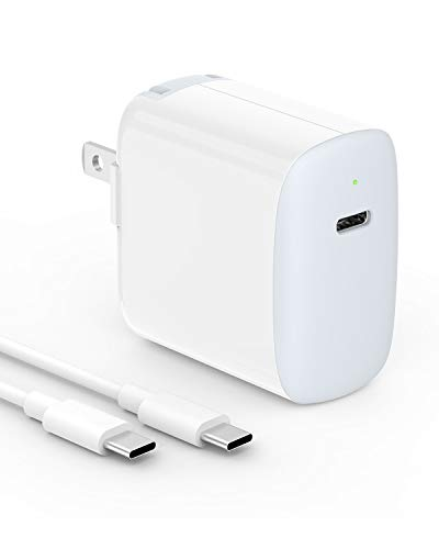 18W USB C Fast Charger for 2020/2018 iPad Pro 12.9 Gen 4/3, iPad Pro 11 Gen 2/1, Google Pixel 4 Pixel 3 Pixel 2 XL Pixel 3A XL 2XL 3XL 4XL, Foldable Plug, LED, with 6.6ft USB C to C Charging Cord