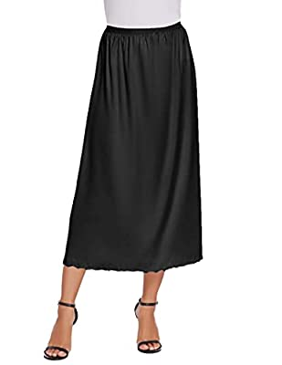 Material: Women Half Slip is made of satin polyester, soft silk touch,antic static and lightweight Design: simple lines, smooth opaque fabric (no cling), a sewn-on elastic waist, more feminine lace trim, ankle length,no see through,a flare silhouette...
