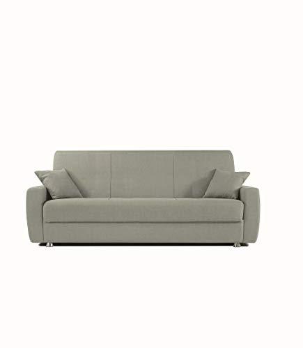 Alfa Sofa Divano Tre posti con meccanismo a clic clac (Apertura a Libro) e vano Contenitore Paros, 225x72x93cm (LxPxA) (Tessuto 01 - Colore 3 - Grigio Chiaro)