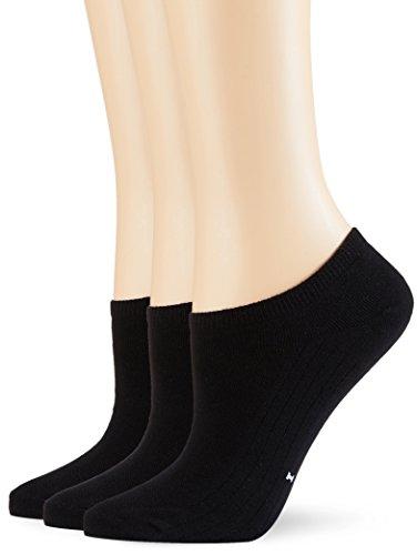 POMPEA Cotton Calzini alla Caviglia, Nero (Nero 0071), (Taglia Produttore:35/38) (Pacco da 3) Donna