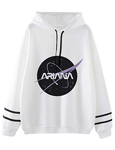Ariana Grande Sweatshirt for Women,Trend Singer Ariana Grande Thank you, Next Print of Letters Long Sleeve Maglionand Hoodie Pullover Sweatshirt for Girl Woman (White3,L)