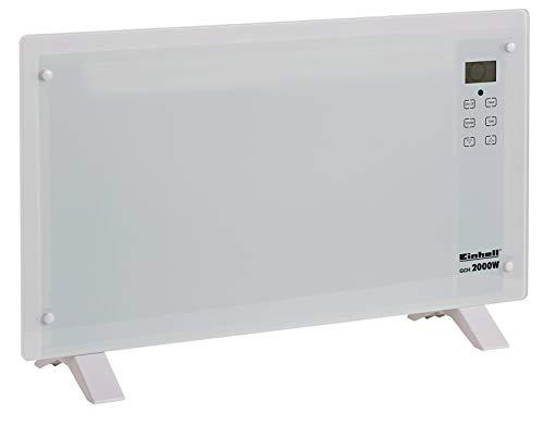 Einhell Glaskonvektor GCH 2000 W (2 Heizstufen bis 2000 Watt, X-Shape Heizelement, Thermostat 15 bis 50 Grad, Touchscreen, LCD-Display, Zeitschalter)