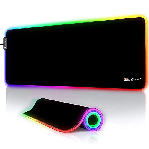 RuoCherg RGB Gaming Mauspad, LED Mauspad Groß, 800x300x4mm Mousepad mit 12 Beleuchtungs-Modi,...