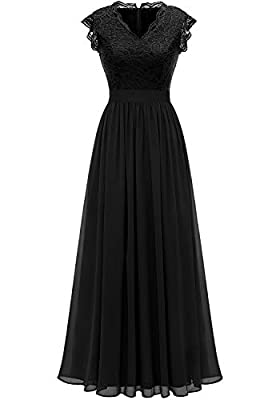Lace on upper part of the dress,Chiffon above the waist,skin-friendly and smooth Lining, give you absolute softness and comfort. Design: V-neck,Short ruffle sleeves,Zipper back,High waist,Floor-length. Whether you are dressing for a wedding party, pr...