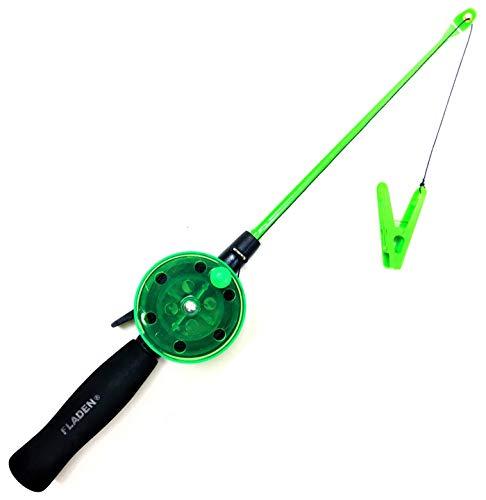 Mega Fishing - Canna da pesca per bambini da 40 cm, per la spiaggia e le vacanze, per la pesca al cancro e ai granchi, colore: nero/verde/rosa (verde)