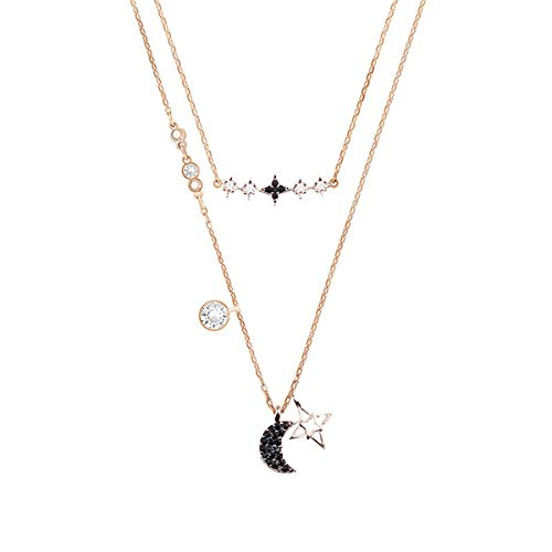 MINAER Collar de Luna Estrella Dos en uno, Collar de Colgante de clavícula para Dama