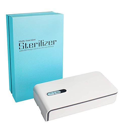 Mobitizer UV-C sterilizer Box Portable Cell Phone sanitizer Disinfectant with Charging Slot for iPhone Android Smart Mobile Phone Key Wallet mask Earphone Glass Aromatherapy Function (White)