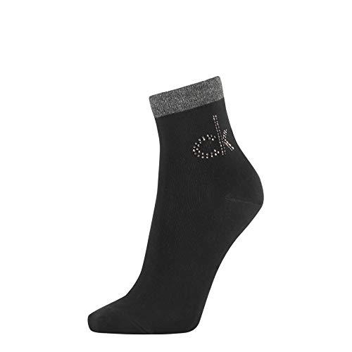 Calvin Klein Women Short Sock 1p Crystal Logo Piper Calzini, Nero, Taglia Unica Donna
