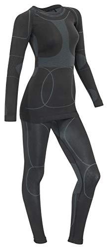 icefeld®: Sport Ski- Thermounterwäsche-Set für Damen Seamless (nahtfrei) in schwarz/grau M