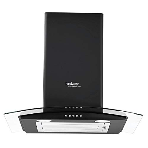 Hindware 60cm 1100 m3/hr Chimney (Sabina Black 60, 1 Baffle Filter, Black)