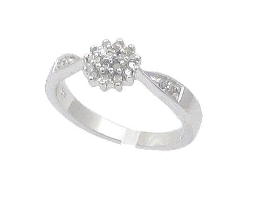 La Colección de Anillo Diamante: Anillo de Plata con set Diamantes 0.15ct y Diamantes en los hombros, Perfecto para regalo, aniversario, compromiso, Talla del anillo 19