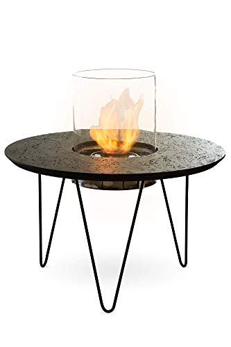 Planika Fire Table Round Bioethanol Portable Fireplace (Black varnished OSB)