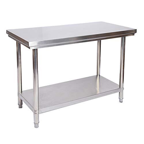 Wiltec Tavolo di Lavoro in Acciaio Inox 120 x 60 x 85 cm Tavolo da Giardino