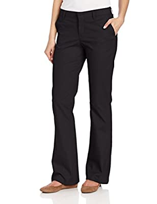 If you're looking for a twill pant that is professional and flattering-you've found it. Dickies' Women's slim fit boot cut stretch twill pants are made to move with the perfect amount of stretch. A contoured waistband with stretchy interlining preven...