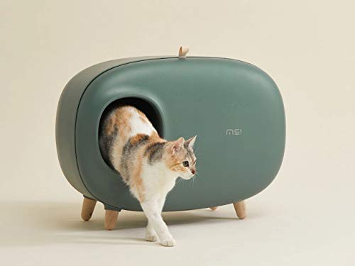 MS Cat Litter Box for Easier Handling of Cat Litter, Enclosed Design, Easy to Clean, Prevent Sand Leakage, Easy Assembly and Large Space, with Cat Litter Scoop (Moss Green)