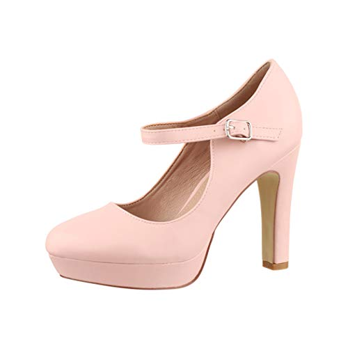 Elara Zapato de Tacón Alto con Correa Mujer Vintage Chunkyrayan Rosa E22320 Pink-38