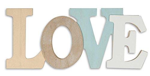 levandeo - Letras Decorativas en 3D (30 x 13 cm, Madera), Color Azul y Blanco