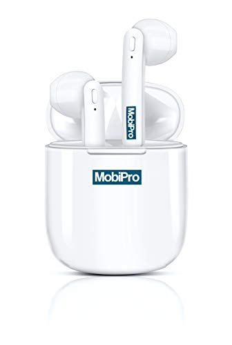 Mobipro Japan - AIRBUDZ Double Deep Bass; Voice Cancellation; Magnetic Charging Case; Auto Pairing; Bluetooth V5.0 True Wireless in-Ear Earbuds/Headphones with 3D Stereo Sound (White)