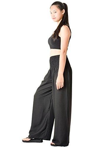 Orient Trail Women's Hippie Bohemian Boho Yoga Wide Leg Harem Pants X-Large Solid Black 4