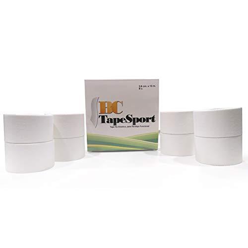 BC Tape Sport Caja de 8 rollos 3,8 cm x 10 m (Blanco)