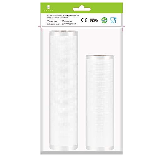 Sacchetti Sottovuoto Cibo per MacchinaSottovuotoperAlimenti, 2 Rotoli 22x300 e 28x300cm Sous Vide Sacchetti goffrati, Approvazione FDA e BPA gratuito, Microonde e Congelatore