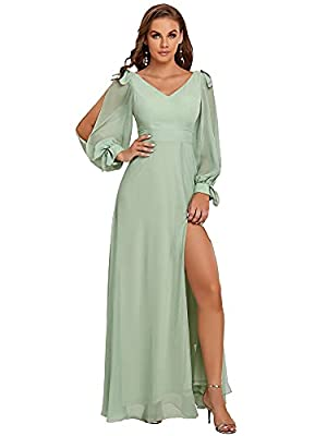 Fully lined, no built-in bras, low stretch Features: plus size, long chiffon sleeve, empire waist, side slit, maxi dress Maxi elegant chiffon side slit formal dress, the dress makes you look charm adorable and fashion Perfect as bridesmaid dress, wed...
