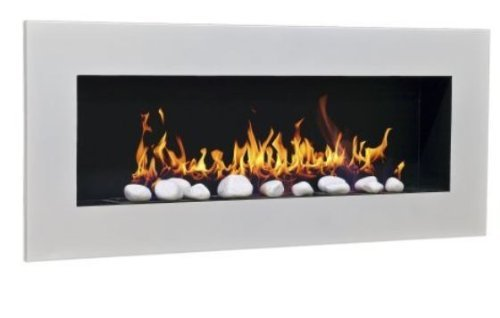 Ethanol & Gel Fuel Fireplace Fireside Model XXL Design + free 24 decorative stones (white)