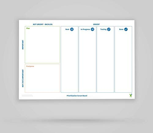 Vi-Board Prioritization Scrum Board/Whiteboard: rollable, double-sided, reusable mobile whiteboard...