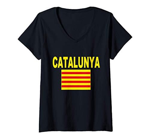 Mujer Bandera de Cataluña Catalunya Senyera Catalana Hombre Mujer Camiseta Cuello V