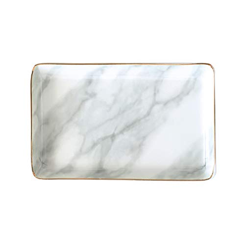 Marble Ceramic Jewelry Tray Ring Dish Ring Holder Display Organizer with Golden Edged Wedding Valentine's day Housewarming Gift (Grey (Small)) (Large, Grey)