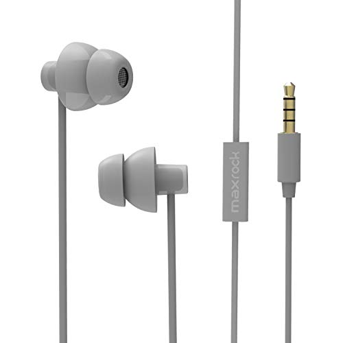 MAXROCK Sleeping Headphones, in-Ear Soundproof Earplug Soft Earbuds with Mic Noise Cancelling Sleep Earphones Earpods for Side Sleeper, Insomnia, Snoring, Air Travel, Bedtime Listening (Gray)
