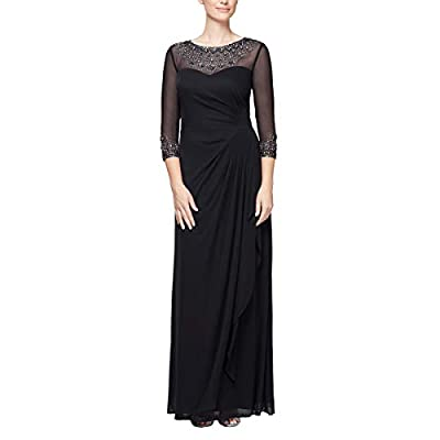 Long A-line sweetheart neck dress w/ beaded illusion Sheer neckline 3/4 sleeves