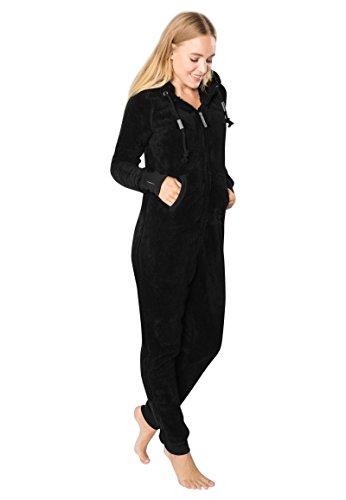 Eight2Nine Damen Jumpsuit aus kuscheligem Teddy Fleece | Overall | Ganzkörperanzug mit Ohren black1 L/XL