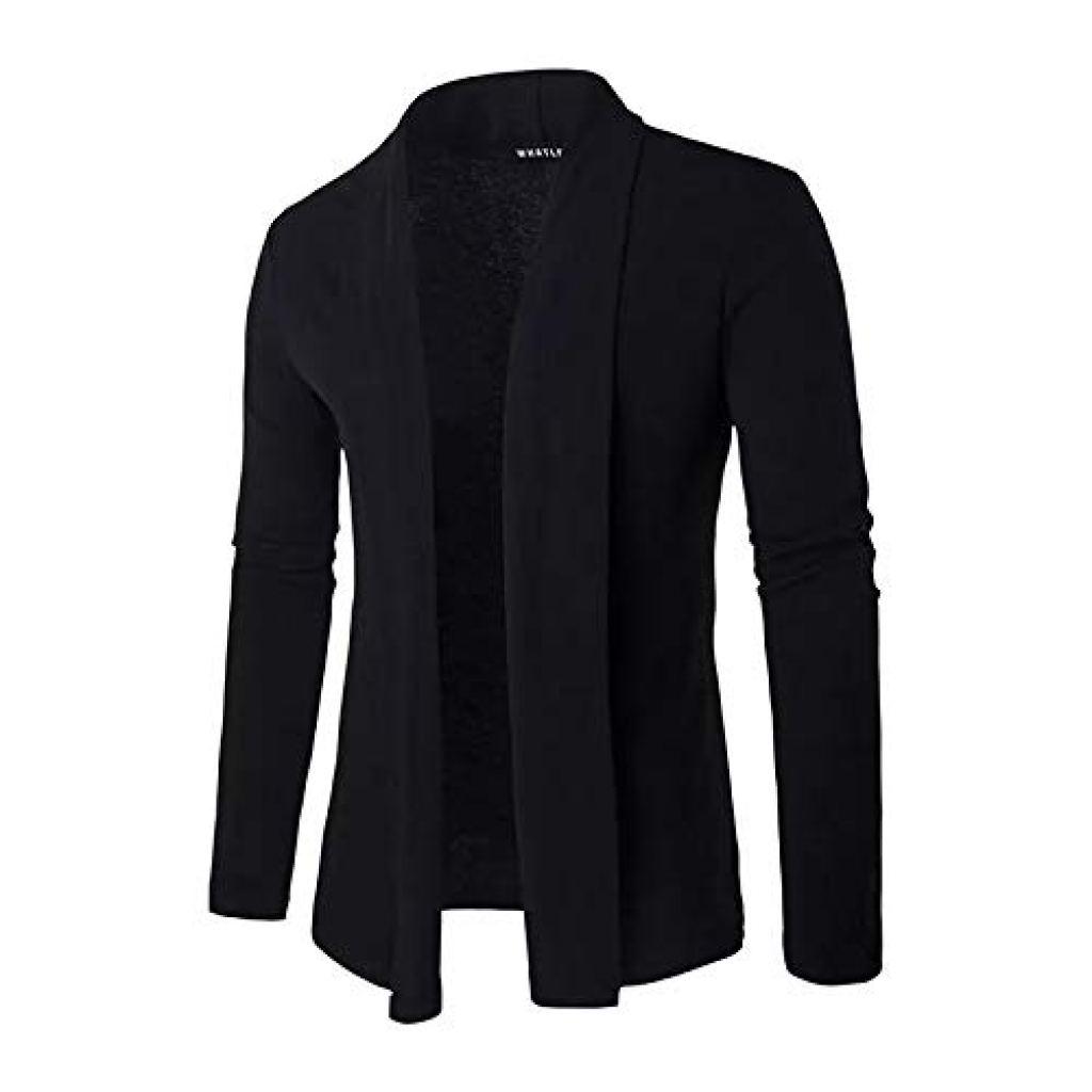 Rigo Men's Cotton Round Neck Regular Full Sleeves Black Cardigan for Casual Wear, Fashion Wear
