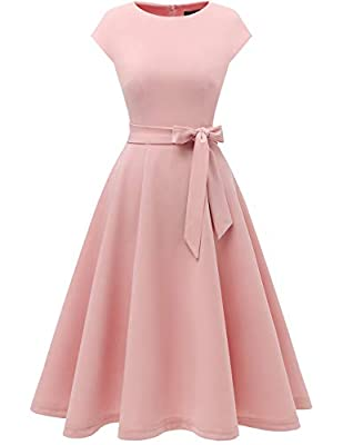 Fabric: 94% Nylon, 6% Spandex,Lining 100% Polyeste,Super soft, stretchy and lightweight,Can be easily dress up or dress down Start with this simple yet elegant retro tea-length swing dress suitable for all women. You will never regret to get one! The...