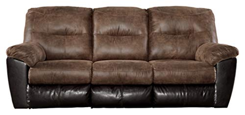 Signature Design by Ashley - Follett Casual Faux Leather Reclining Sofa - Pull Tab Reclining - Brown