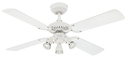 Westinghouse Princess Euro - Ventilatore a Soffitto per interni con kit luce, Finitura bianca con lame reversibili, Tre...