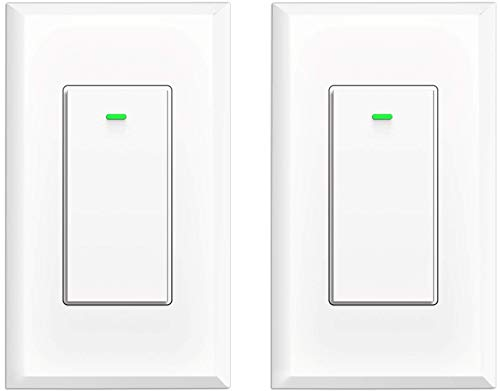 Smart Switch WiFi Light Switch No Hub Required, Light Switch Alexa Compatible with Google Assistant Requireds Neutral Wire,Timer Schedule, KULED K36 2Pack