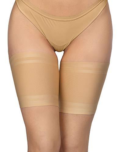 Annes styling Fasce elastiche anti-sfregamento per cosce, da donna, in silicone antiscivolo, rivestite in raso e pizzo Visone Taglia M