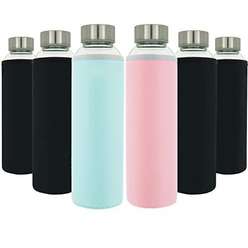 T&N Glasflaschen 6er Set 550ml - Neopren Schutzhüllen - Auslaufsicher - Spezial Glas BPA-frei - für Wasser Smoothie Saft Tee – Premium Trinkflasche auch für Kinder – Sport-Flasche mit Bürste
