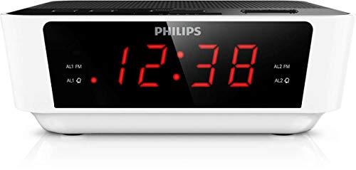 Philips AJ3115 Radiowecker mit Digital Tuner (Dual Alarm, UKW, Sleep timer, Großes Display) weiß/schwarz