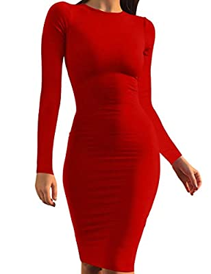Fabrics: 95% Polyester,5% Spandex, knee-length basic dress is soft, high stretchy, warm and not see through Design: Long sleeve slim dress, Simple classic, Casual basic bodycon dress, This midi dress is stretchy but fitted, Fits true to size, Fit lik...
