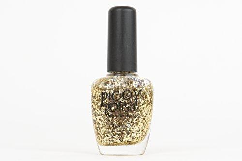 Piggy Polish Christmas Gold Glitter Nail Polish, Big Flakes of Gold Glitter, Great as a Top Coat, Fun, Glam, Festive Nail Polish, Great Gift! Non Toxic .5 oz