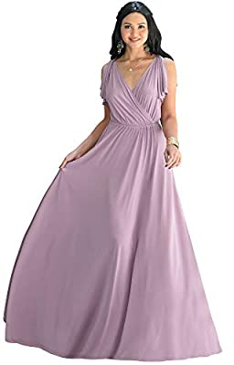 Flattering plus sized Dusty Pink maxi dresses for women; slimming full figure dresses; curvy gowns for ladies with curves; womans comfortable stretchy dressy clothing; comfy loose fit fitting larger clothes apparel garments; big size maxi dress Floor...